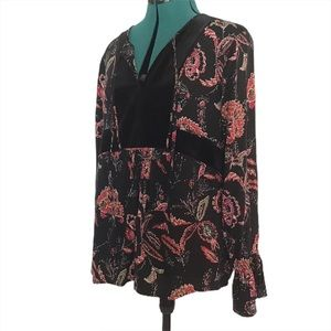 Tribal Jeans Black and Red Floral Boho Blouse, M